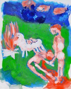 Abel et Caïn, Huile dans plexiglas transparent, 25x20cm, 2019