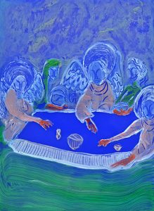 Abraham et les trois anges, Huile sur plexiglas bleu opaque, 30x21cm, 2019