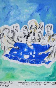 Abraham et les trois anges, Acrylique sur Papier Fibre de Canne à Sucre, A3, 2019