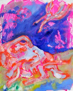 Agar dans le désert, Huile dans plexiglas transparent, 25x20cm, 2019