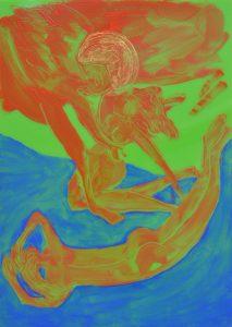 Les anges épousent les femmes, Huile sur plexiglas vert opaque, 30x21cm, 2019